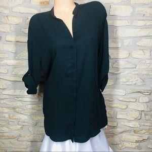 S Mossimo Black Flowy Button Down Dress Shirt